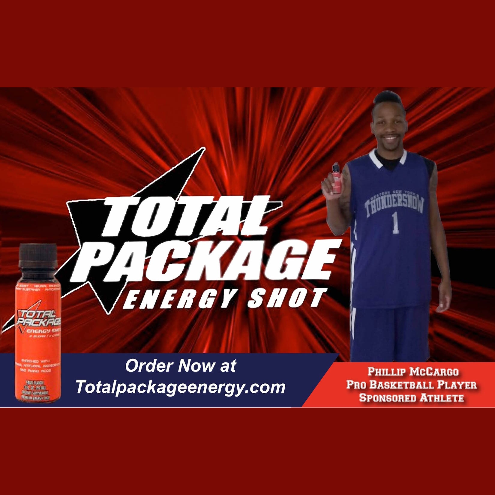 "Total Package Energy Shot Order now at totalpackageenergy.com, be sure to put ""AND SPORTS"" in the Representative box"